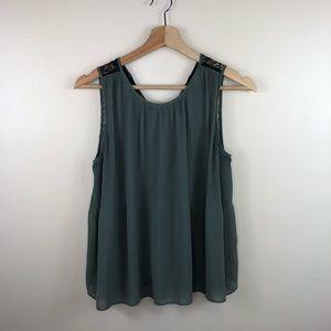 ZARA green black lace sleeveless blouse size xs
